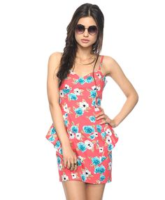 Scribbled Floral Peplum Dress | FOREVER21 - 2000043673