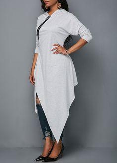 Zipper Front Hooded Collar Asymmetric Hem Blouse - Trend Way Dress Kurta Designs Women, Blouse Designs, Plus Size Belts, Ethnic Dress, Collar Blouse, Blouses For Women, Fashion Dresses, Tunic Tops, Womens Fashion