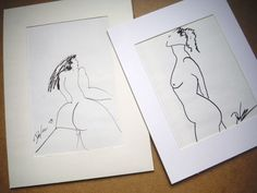 Lot of 2 original pen ink US drawings erotica kevin doyle figurative nude women #PenInk