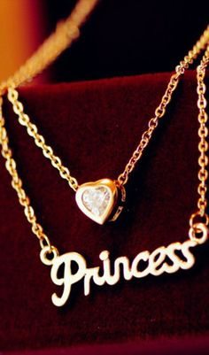 English letters love hearet double necklace. be like a princess
