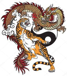 """Vector image material of """"Chinese Dragon Versus Tiger Tattoo Vector"""" (Ro . - Vector image material of """"Chinese Dragon Versus Tiger Tattoo Vector"""" [Royalty-free] 1153921165 Chin - Chinese Dragon Drawing, Chinese Drawings, Chinese Dragon Tattoos, Japanese Dragon, Dragon Tiger Tattoo, Tiger Dragon, Dragon Tattoo Drawing, Snake Tattoo, Dragon Illustration"""