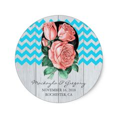 turquoise and coral rustic wedding stickers
