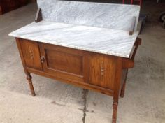 Antique Marble Top Wash Stand Table Shabby Chic Style Old Furniture