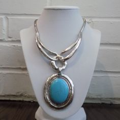 Turquoise Silver Tone Statement Necklace