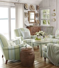yellow & blue/green striped chairs | Sarah Richardson