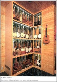 The ukulele collection from the Tsumura collection. I need to find this book again. I love the packed display cases with mirrors behind.