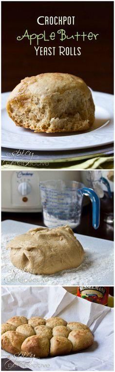 Slow Cooker Apple Butter Yeast Rolls Recipe #crockpot #slowcooker