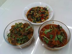 spicy teochew choy sum, spiced mutton gravy with coriander and potato, hot and spicy chicken curry with coriander