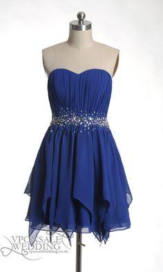 Short Strapless Bridesmaid Dress Blue DVW0122