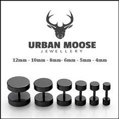 1 Pair Mens Women Black barbell Earrings by UrbanMooseApparel, €5.99