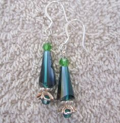 Elegant Symphony of Green Modern Christmas Tree Earrings for the Holidays by AGreenWoods on Etsy