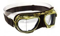 Mark 49 Compact Antique Brass Goggles - Highly polished compact brass frames, soft brown leather face mask, elasticated headband designed to fit under and over crash helmets and comes fitted with clear polycarbonate scratch resistant angled lenses.