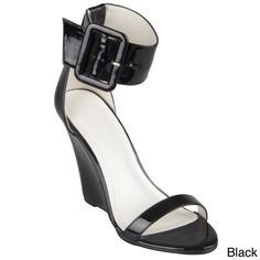Look chic from day-to-night in patent wedge sandals from Journee Collection! These stylish shoes feature shiny patent leather uppers wedge heels. Wide ankle straps highlight a large buckle accents and contrast an open-toe design, perfect for the summer!