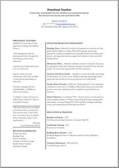 Resume For Preschool Teacher Teacher Assistant Resume Sample Resume Examples  Pinterest