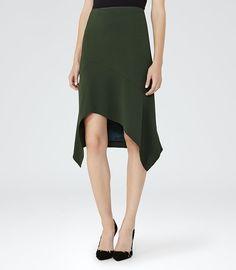 Autumn Racing Green Cutaway Skirt - REISS