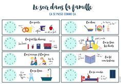 {Freebies} 10 printables pour s'or-ga-ni-ser! Evening Routine, Night Routine, Routine Printable, Free Printable, Time Timer, Family Organizer, Toddler Fun, Learn French, Kids Education