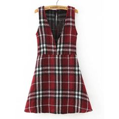 Choies Red Plaid Plunge Neck A-line Vest Dress ($34) ❤ liked on Polyvore featuring dresses, red, red day dress, tartan plaid dress, red plunging neckline dress, plunge neck dress and tartan dress