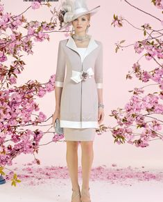 Veni Infantino 991009 occasion wear - Colour Ivory & Taupe - Price £630. A 2 colour block capped sleeve dress, lace waistband, matching jacket with flower.