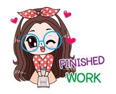 Boobib Office Girl sticker #13747476 Cat Noises, Tough Girl, Cute Doodles, Line Sticker, Cute Gif, Baby Cats, B & B, Cute Love, Custom Stickers