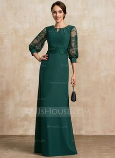 A-Line Scoop Neck Floor-Length Chiffon Lace Mother of the Bride Dress With Beading Sequins - JJ's House Mother Of The Bride Dresses Long, Mothers Dresses, Mob Dresses, Fashion Dresses, Formal Dresses, Hunter Green Dresses, Chiffon, Lace Evening Dresses, Marie