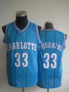 2f5e48908 Pelicans  33 Alonzo Mourning Light Blue Charlotte Hornets Throwback  Stitched NBA Jersey