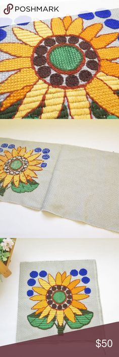 """Mod 1960's Mid Century Vintage Embroidery Panel Vintage Embroidered Pillow Cover Supply, Pillow Cover, Floral Pillow Cover, Retro Embroidery, Handmade Vintage Supply Craft Supply  Wool embroidery. In great condition. Very well made. Ready to use.  The piece of fabric measures 30"""" x 15"""" Vintage Other"""