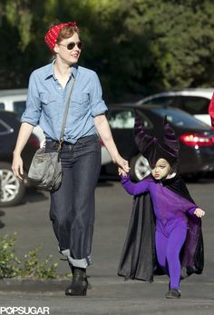 Amy Adams took her daughter, Aviana, to a costume party in LA; Amy was dressed as Rosie the Riveter, and Aviana was a tiny Maleficent!