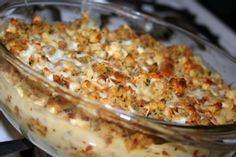 Baked Cheese Stuffing Casserole to try in the mini pie dishes