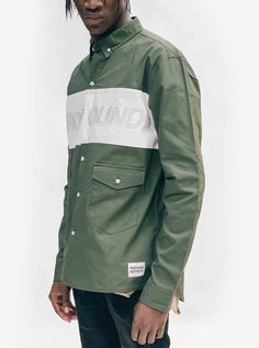 "Profound Aesthetic Oxford Shirt in Olive ""On the Streets I Ran"" FW15 Collection http://profoundco.com"