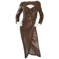 Vintage Vicky Tiel Couture Sexy Chocolate Brown Sequin Cut - Out Bodycon Dress | From a collection of rare vintage evening dresses and gowns at https://www.1stdibs.com/fashion/clothing/evening-dresses/
