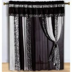 Chezmoi Collection Black and White Micro Fur Zebra with Giraffe Design Window Curtain/Drape Set, with Sheer Backing Window treatments add refinement and style Animal Print Curtains, Animal Print Bedding, Zebra Curtains, Printed Curtains, Drapes Curtains, Animal Prints, Leopard Bedding, Bedroom Drapes, Layered Curtains