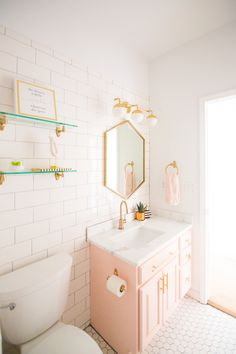 I am so very excited to share with you our Modern Glam Blush Girls Bathroom Design from our most recent remodel reveal - Our Modern White Farmhouse Reveal. Bad Inspiration, Bathroom Inspiration, Home Decor Inspiration, Decor Ideas, Diy Ideas, Bathroom Kids, Small Bathroom, Girl Bathroom Ideas, Bathroom Inspo
