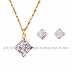 juego collar y aretes de brillante en acero dorado inoxidable -SSNEG1103008