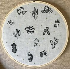 Cactus doodle 8 inch embroidery hoop art home by berryandblue
