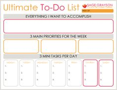 Productivity Worksheets - Sage Grayson Coaching
