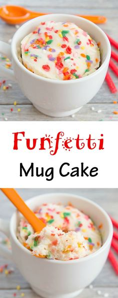 Funfetti Mug Cake. Fluffy, single serving vanilla cake mixed with sprinkles. Cooks in 1 minute!