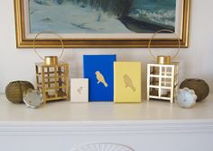BIRDS Blue & Gold PAINTING Handmade Canvas by ThreeColumnsStudio