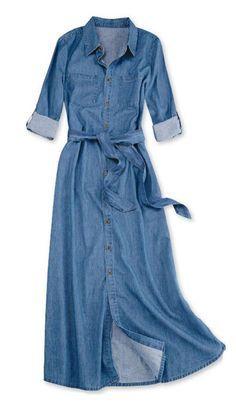Jean Dress Outfits, Denim Maxi Dress, Jeans Dress, Diy Fashion No Sew, Denim Fashion, Modest Fashion, Fashion Dresses, Gigi Dress, Best Casual Dresses
