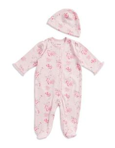 Little Me Floral One-Piece and Hat Set  Pink 9 Months