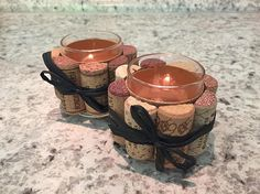 Wine cork votive set