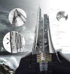 Image 2 of 9 from gallery of Citadel Skyscraper / Victor Kopeikin + Pavlo Zabotin. Architecture Tools, Futuristic Architecture, Concept Architecture, Architecture Details, Architecture Panel, Contemporary Architecture, Sci Fi City, Future Buildings, Future City