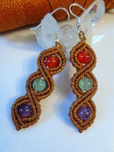 Camel Macrame Earrings with Gemstone beads Handmade Creation