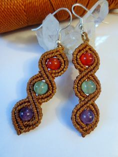 Camel Macrame Earrings with Gemstone beads Handmade Creation