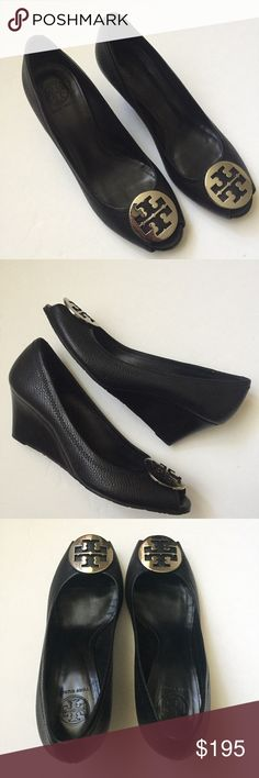 Tory Burch Peep-Toe Wedges Black leather with a stacked wedge. Silver logo medallion above a peep-toe. Never worn! No box. Size 11. Tory Burch Shoes Wedges