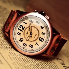 Men's Watch Leather Watch for Man Big Face Retro Design. $19.98, via Etsy.