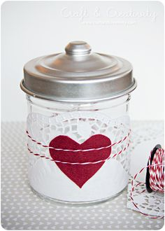 Paper doily, felt heart and some twine. Fill the jar home baked cookies for Valentine's Day