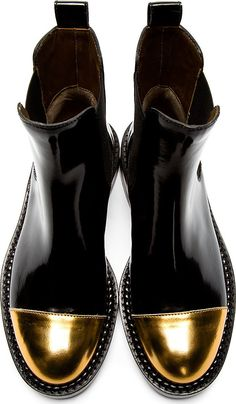 Marni Black Leather Gold Toe Chelsea Boots