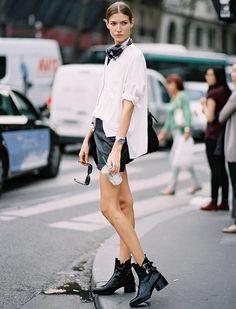 The perfect oversized white shirt Rock Street Style, Style Rock, Street Chic, Street Smart, Tomboy Outfits, Tomboy Fashion, Tomboy Style, Boyish Fashion, Androgynous Style