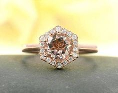Rose Gold Engagement ring.Morganite Engagement Ring.Hexagon Ring 0.18 Ct.F-G/VS High Quality Diamonds,Natural Morganite Diamond Engagement.