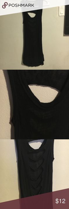 Open back long black tank top Super cool, bodycon open back black tank top. Covers my bum. sweet and sinful Tops Tank Tops